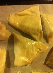 Garlicky Mushroom Phyllo Triangles