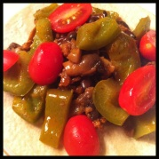 "Veggie ""meat"", bell peppers & tomatoes"