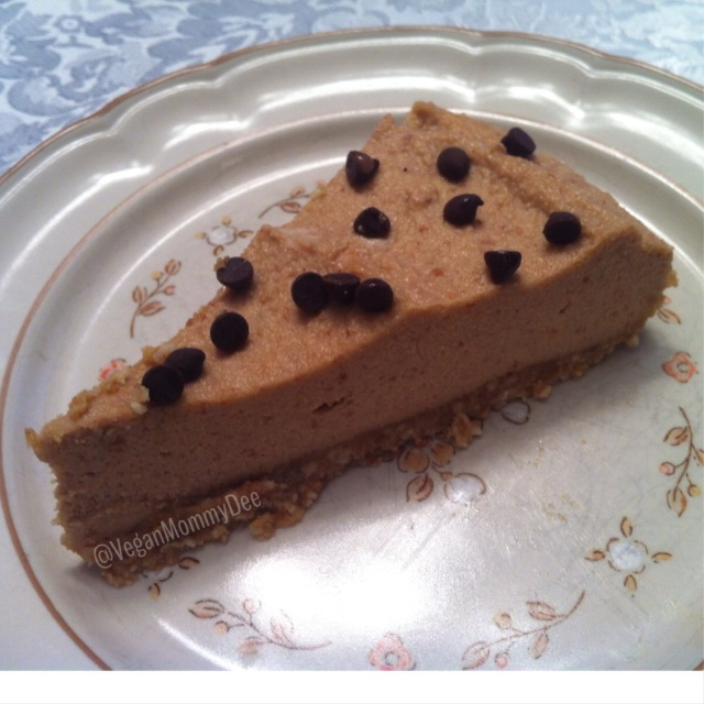 A lovely slice of VeganMommyDee's Raw Vegan PB Cheesecake!