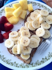 Almond Butter on Chia toast with fruit